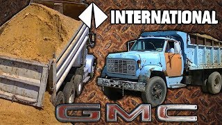 GMC Detroit Diesel and International CAT 3406 Dump Trucks Dumping Sand
