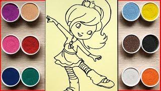 Đồ chơi tô màu tranh cát cô bé đang khiêu vũ - Colored sand painting princess doll toys (Chim Xinh)