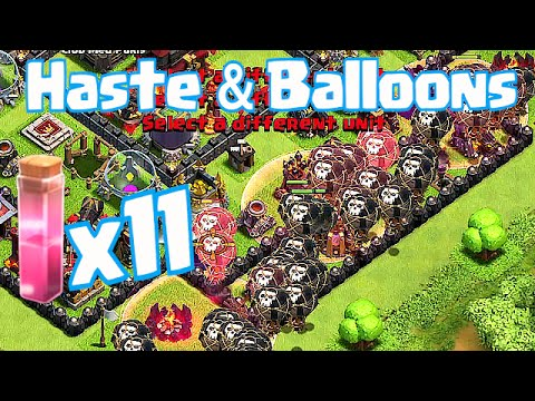 Clash Of Clans - HASTE SPELL X 11 & ALL BALLOON RAID!!! (EPIC GAMEPLAY!)
