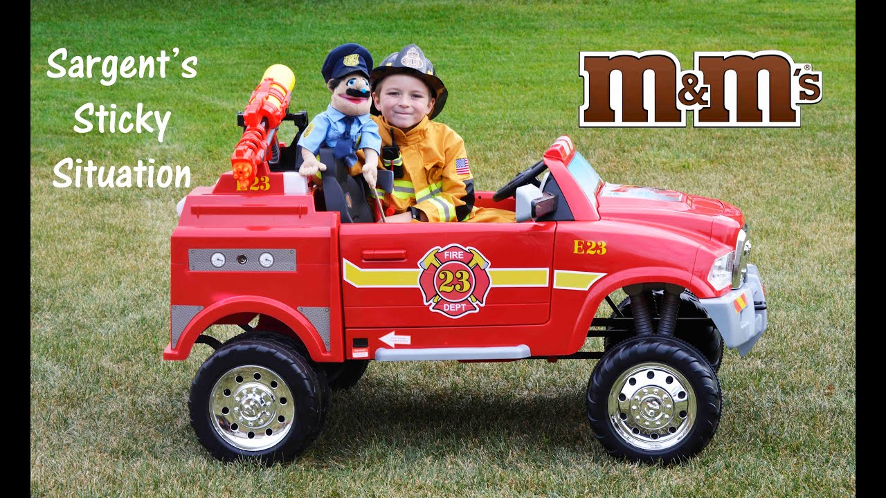 Little heroes avigo 12v ram 3500 ride on fire truck little heroes sargents sticky situation parody youtube