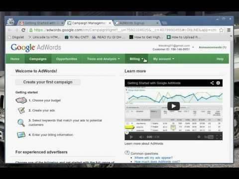 Hướng dẫn tạo tài khoản Google Adword