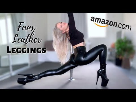 Amazon FAUX LEATHER LEGGINGS Voguemax - Try On U0026 Review | How I Love To Style Black Shiny Leggings