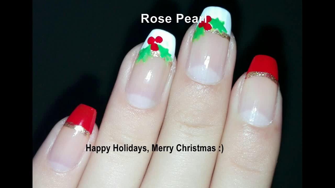 Christmas Glitter French Nail Art Designs