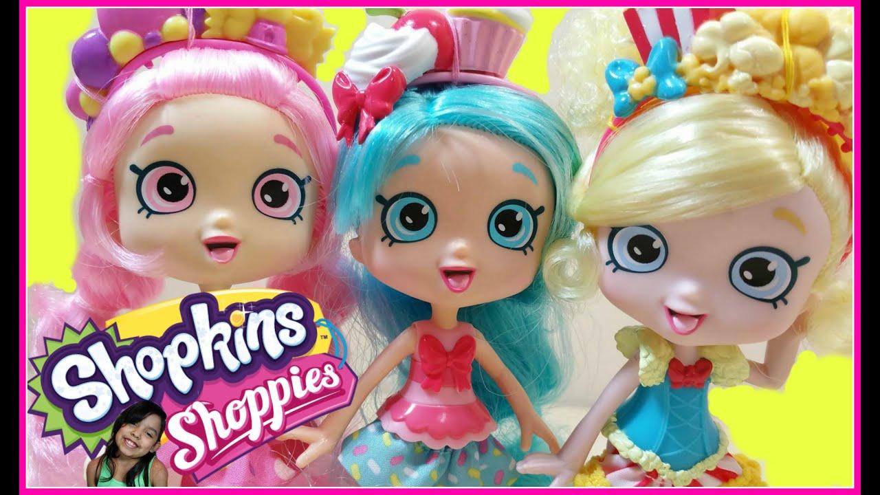 Shopkins shoppies dolls bubbleisha poppette jessicake toy unboxing