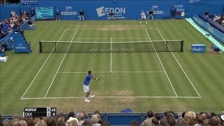 Murray passing shot to win first set, 2016 Queen's semi-final .v. Cilic