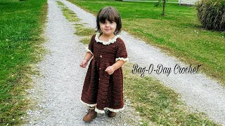 How To Crochet - Little Pilgrim Toddler Dress | Baby dress | BAGODAY Tutorial #428