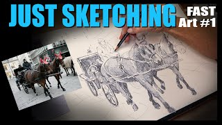 Drawing Horses: Fast-forward sketching showing how to transfer using a grid: Fast art #1