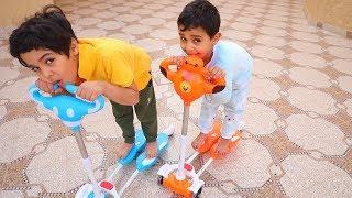 تحدي زياد والياس بالسكوترات الغريبه!!