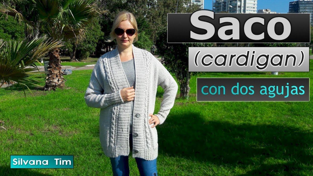 Cómo tejer SACO (Cardigan) de lana con dos agujas. Tutorial # 693 ...