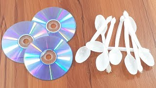 Amazing creative crafting out of Plastic spoon & Old cd disc | Diy Wall decorating idea
