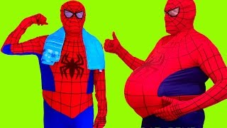 Spider Girl vs Fat Spiderman Superheroes in Real Life