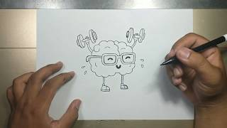How to draw CARṪOON BRAIN step by step