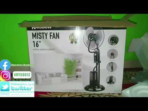 Unboxing Installation Krisbow Misty Fan Kipas Angin Kabut / Uap Embun 75 Watt 2 Liter 16