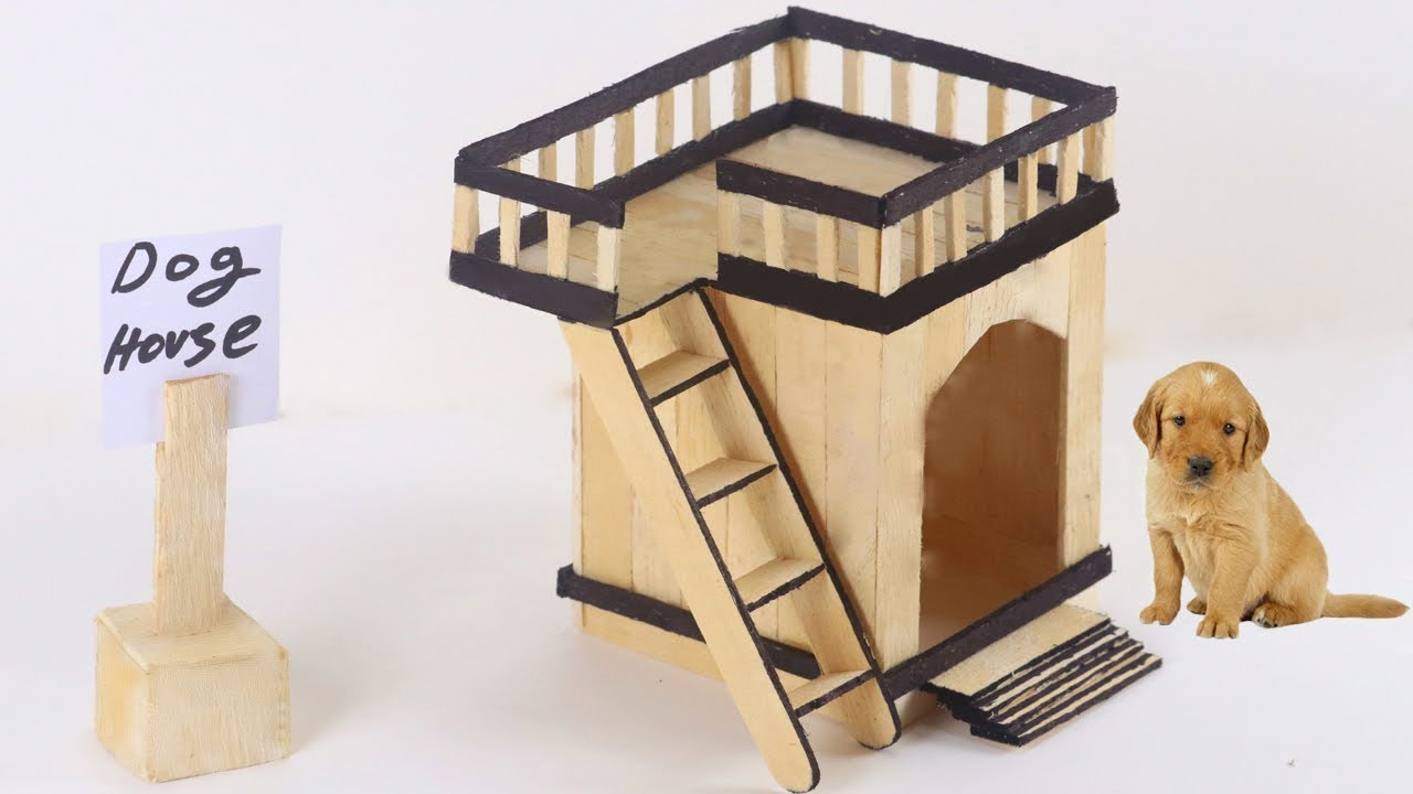 How To Make Puppy Dog House From Popsicle Stick Youtube