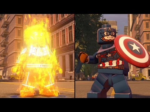 LEGO Marvel's Avengers - Human Torch vs Captain America - CoOp Fight | Free Roam Gameplay (PC HD)