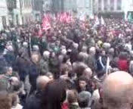 Manifestazione Officine FFS Bellinzona - Partenza Corteo