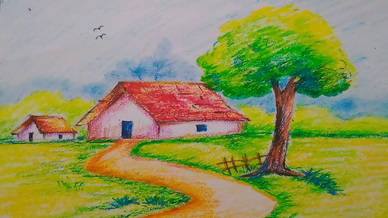 landscape color drawing with oil pastels. landscape in oil pasteleasy drawing for kids color with pastels s