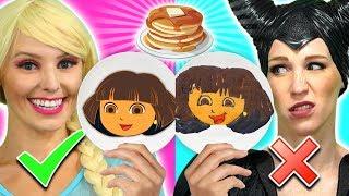 ELSA VS MALEFICENT PANCAKE ART CHALLENGE. We Make Genie, Pikachu and Woody.