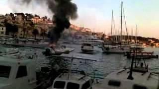 Boat Fire In Dalmatian Paradise - Hvar City Marina June 23, 2011