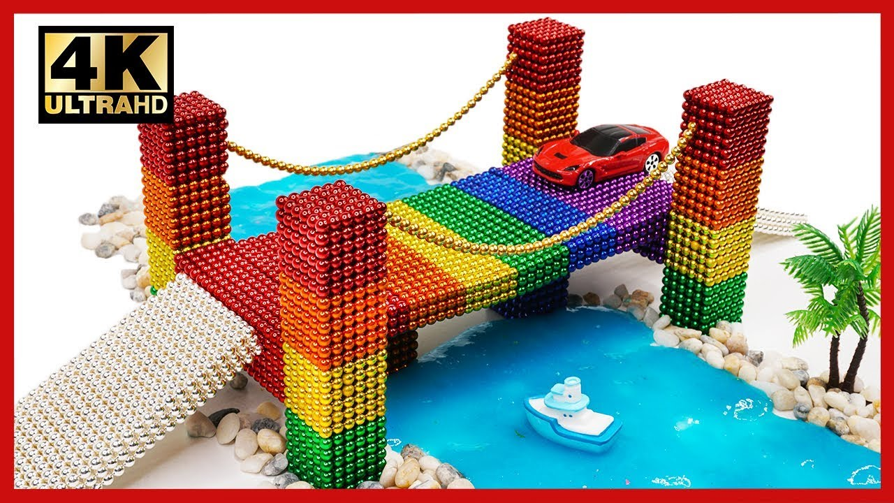 DIY - How To Make Rainbow Bridge With Magnetic Ball, Slime, Car toys | Pixel Art by Magnet World 4K