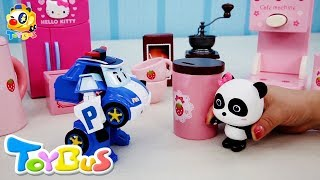 Panda Miumiu's Café | Coffee, Strawberry Milk Shake, Flower Tea | Poli Police Car Story | ToyBus