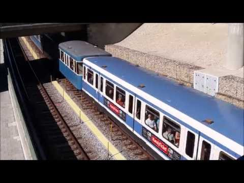 Munich U-Bahn Class A & Class C trains on Line U6 overground section