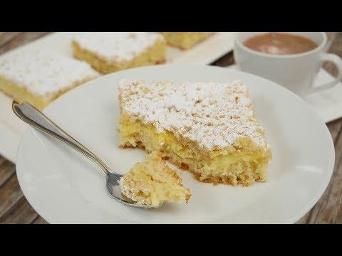 Streuselkuchen mit Pudding vom Blech I Blechkuchen I Pudding-Streusel