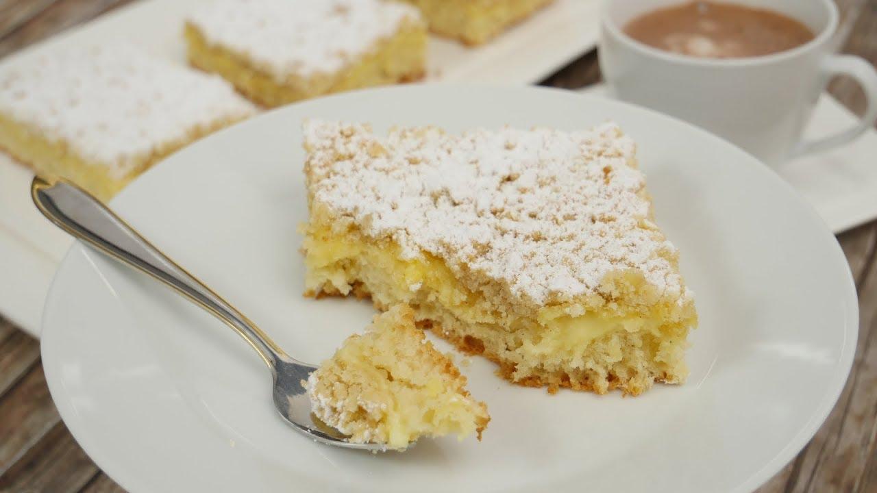 Streuselkuchen Mit Pudding Vom Blech I Blechkuchen I Pudding