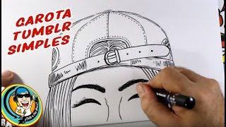 Como desenhar GAROTA TUMBLR com OLHOS FECHADOS - MUITO SIMPLES