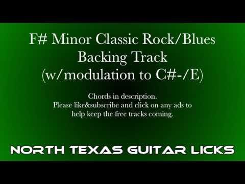 F# Minor Classic Rock Blues Guitar Backing Track (w/modulation to C#-/E)