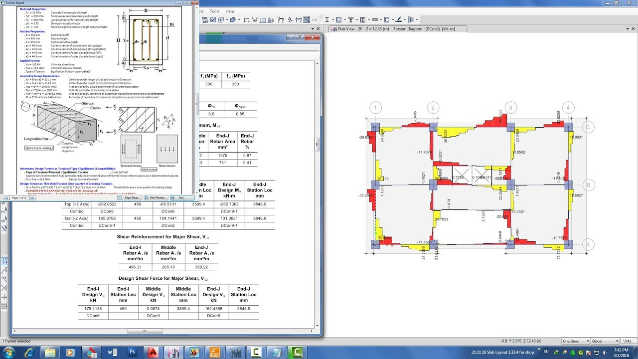 Etabs 2016 Design combined shear and torsion check with rcm aci builder