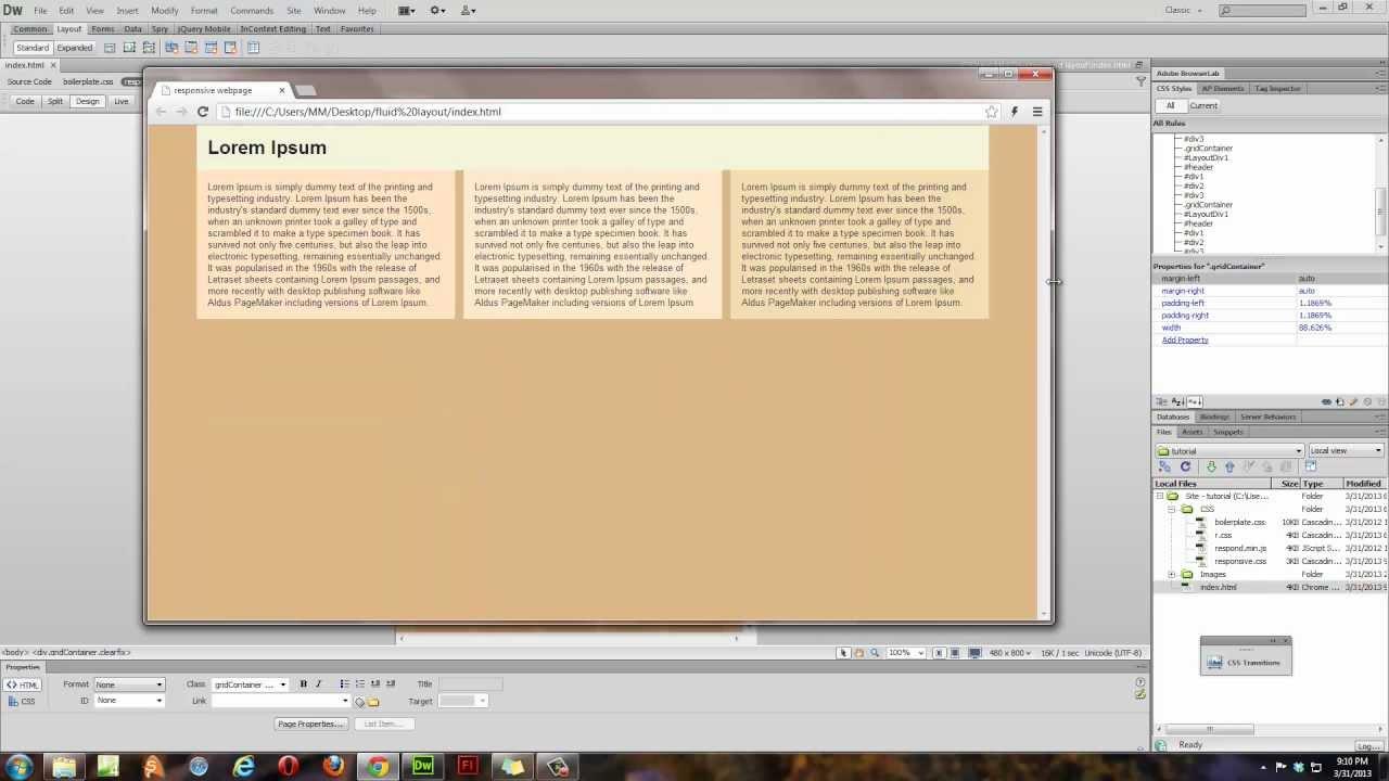 dreamweaver cs  tutorial fluid grid layout  part   youtube. dreamweaver cs  tutorial fluid grid layout  part