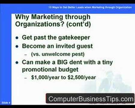 Marketing Computer Consulting through Organizations Tutorial
