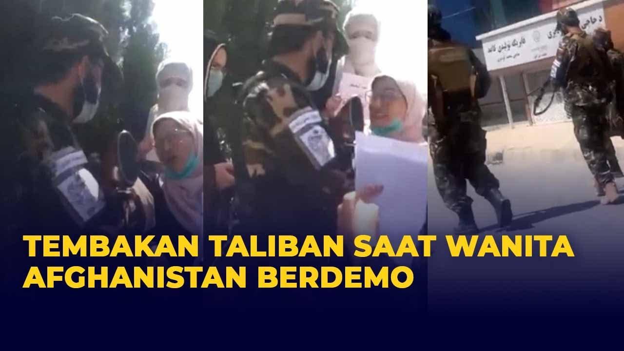 Download Tembakan Senjata Pejuang Taliban saat Wanita Afghanistan Lakukan Aksi Protes