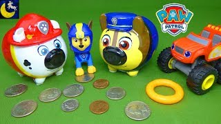 Paw Patrol Toys Chase and Marshall Piggy Bank Coins Blaze and the Monster Machines Squishy Kids Toys