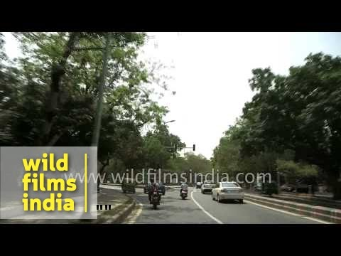 Driving through Chanakyapuri Diplomatic Enclave Delhi