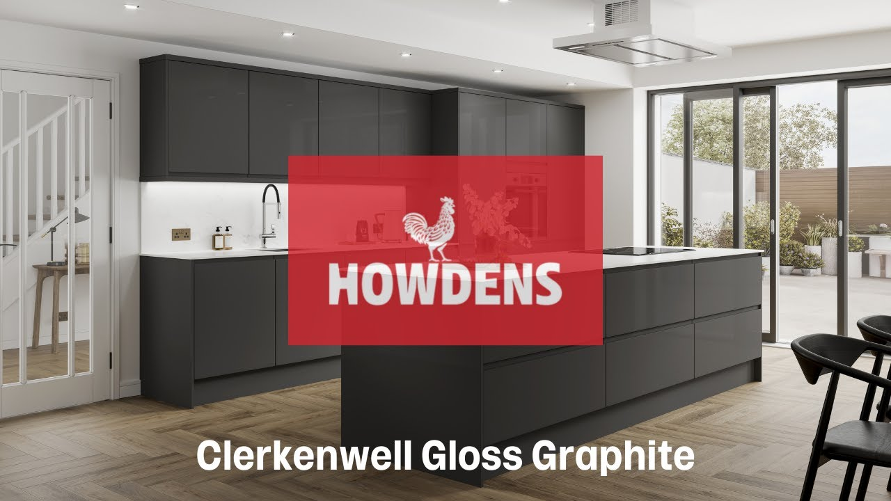 Clerkenwell Gloss Graphite Contemporary Kitchen YouTube - Howdens cuisine
