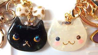 【UVレジン】100均材料と猫モールドで宝石ネコのキーホルダーを作りました!resin