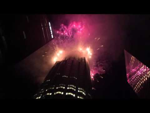 Fireworks Show in Downtown Los Angeles Skyline - Skyspace Los Angeles Block Party