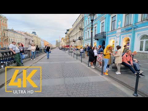 Virtual Walk along the Streets of Saint Petersburg, Russia - 4K Walking Tour with City Sounds