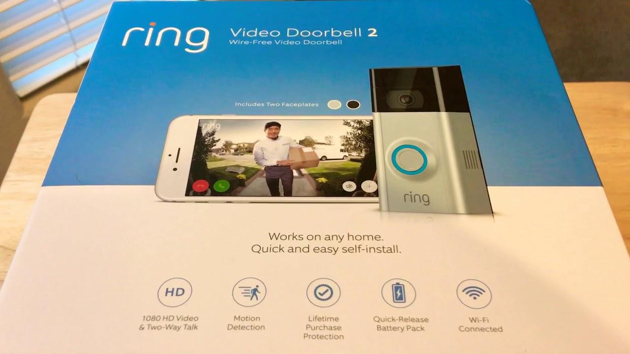 57554ee1063 Ring Video Doorbell 2 Smart Home WiFi Security Camera Unboxing 12-10 ...