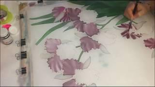 Батик.  Уроки для начинающих.  Орхидеи