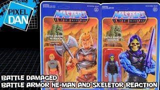 Battle Armor He-Man & Skeletor Battle Damaged ReAction Super7 Figures Video Review