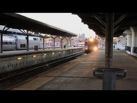 MBTA commuter train pulls into North Station in Boston