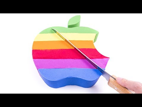 Thumbnail: Baby Learn Colors DIY How to Make Kinetic Sand Cake Rainbow Apple Logo for kids Children