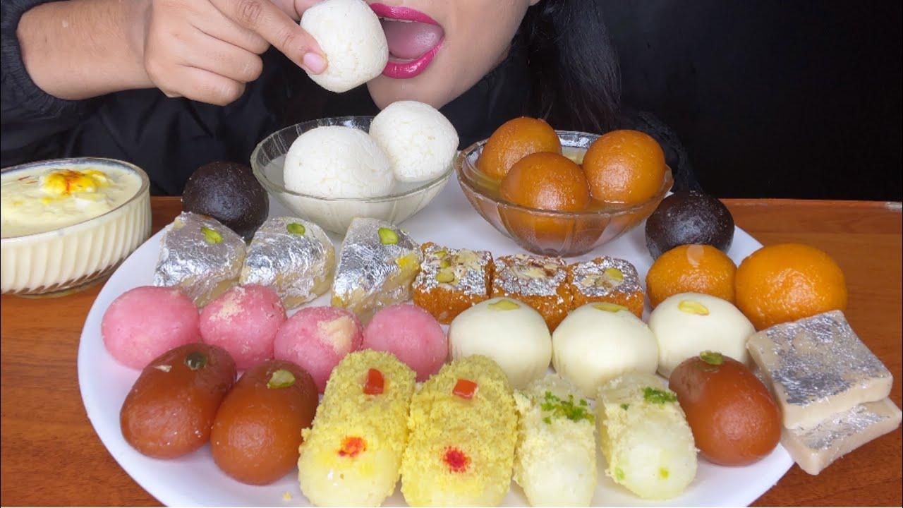 ASMR INDIAN SWEET *EATING INDIAN SWEETS* RASGULLA,RASMALAI,GUALABJAMUN,CHAM CHAM
