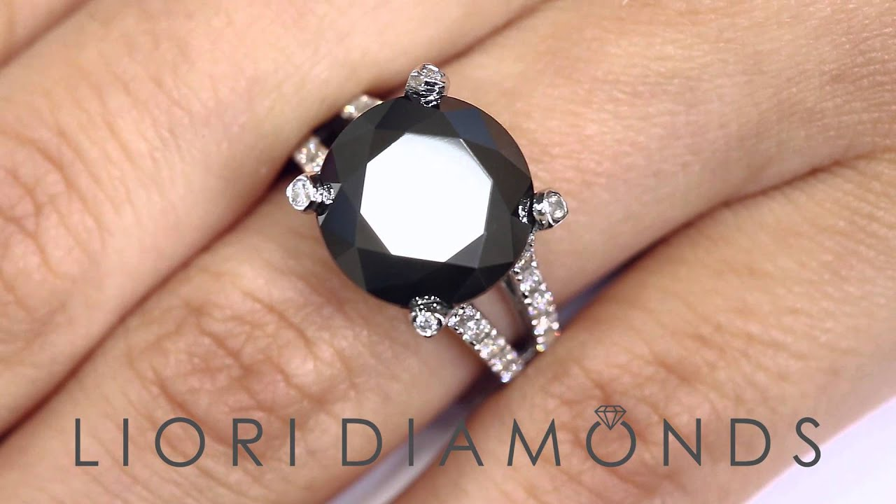 BDR 165 8 25 Carat Certified Natural Black Diamond Engagement