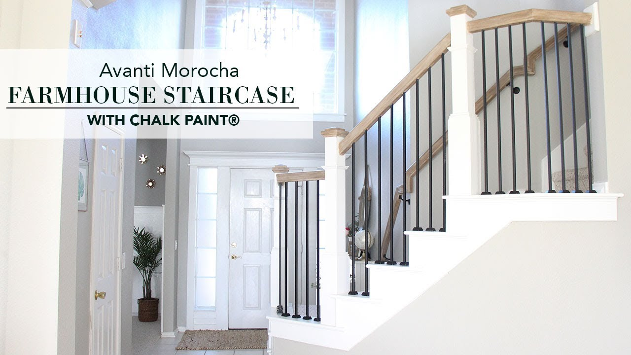 Farmhouse Staircase Renovation With Chalk Paint 174 Youtube