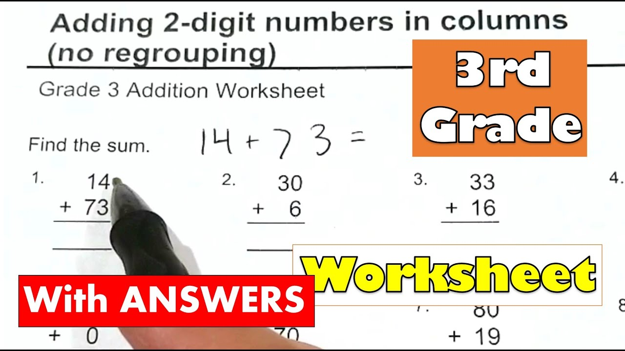 hight resolution of 3rd Grade Math - Adding 2-digit Numbers No Carrying or Regrouping Worksheet  With Answers - YouTube