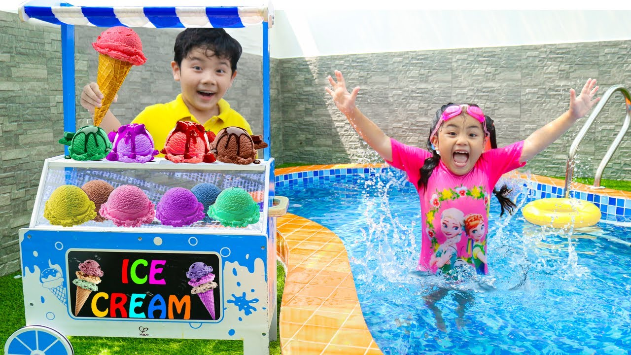 Annie and Sammy Selling Fruit Ice Cream Popsicles by the Swimming Pool
